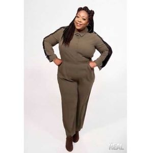 ELOQUII Jumpsuit Long Sleeve Pockets Plus Size 18